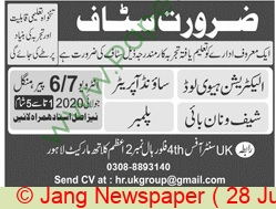 Pakistan Based Company jobs newspaper ad for Sound Operator in Lahore
