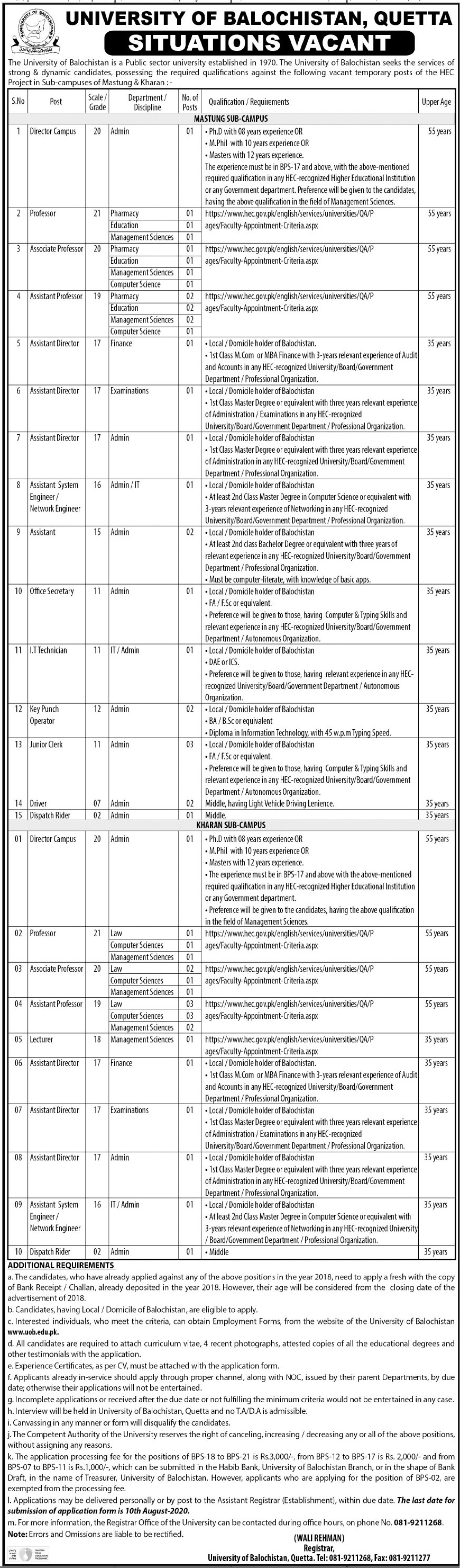 University Of Balochistan Quetta Jobs For Director Campus, Professor, Associate Professor, Assistant Professor, Assistant Director, Office Secretary, It Technician advertisemet in newspaper on June 28,2020