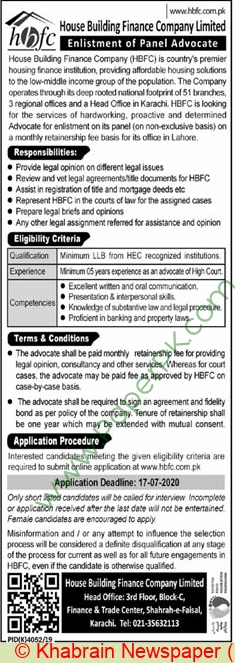 House Building Finance Company Limited jobs newspaper ad for Advocate in Karachi