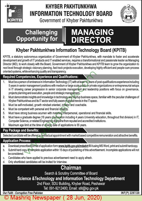 Khyber Pakhtunkhwa Information Technology Board jobs newspaper ad for Managing Director in Peshawar
