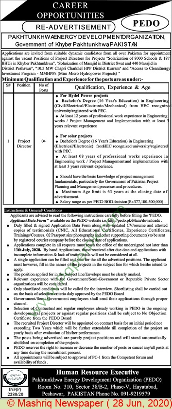 Pakhtunkhwa Energy Development Organization jobs newspaper ad for Project Director in Peshawar