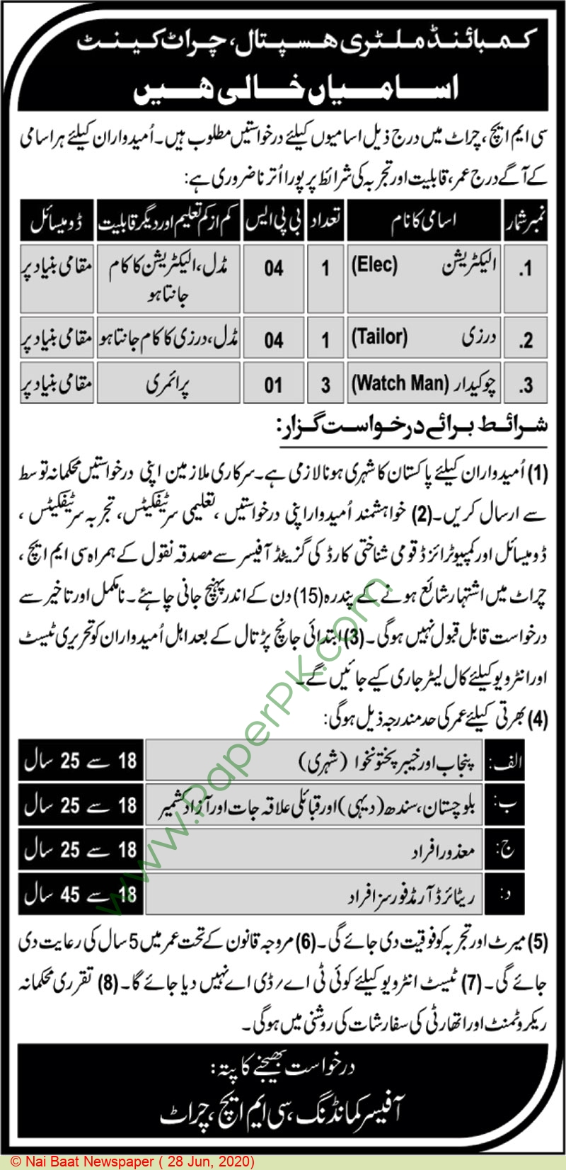 Combined Military Hospital jobs newspaper ad for Electrician in Peshawar