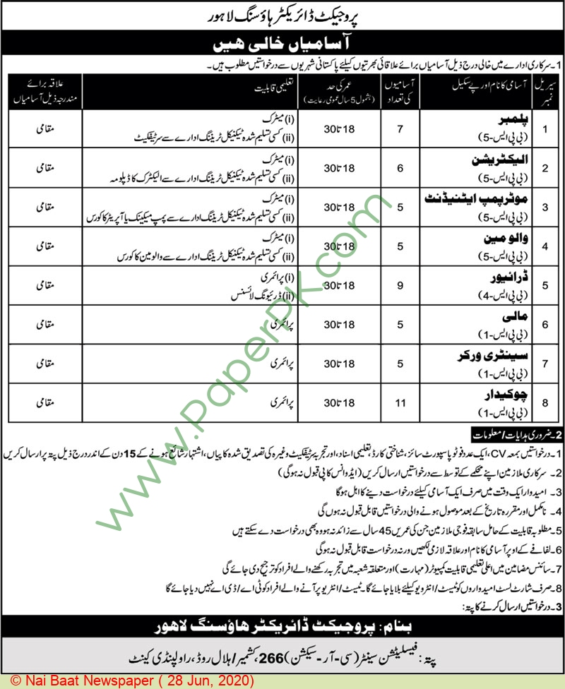 Government of Punjab jobs newspaper ad for Motor Pump Attendant in Rawalpindi