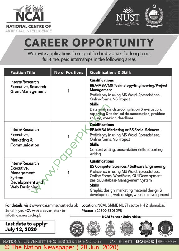 National Centre Of Artificial Intelligence jobs newspaper ad for Research Executive in Islamabad