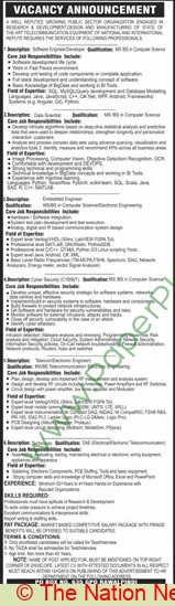 Public Sector Organization jobs newspaper ad for Software Engineer Developer in Rawalpindi
