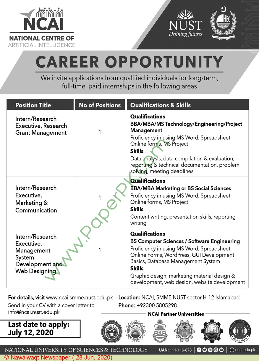 National University Of Sciences & Technology jobs newspaper ad for Research Executive in Islamabad