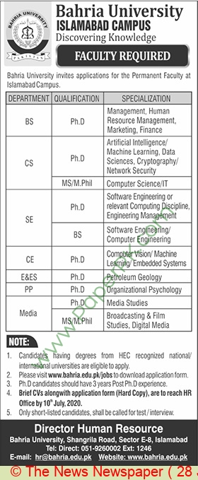 Bahria University jobs newspaper ad for Faculty Staff in Islamabad