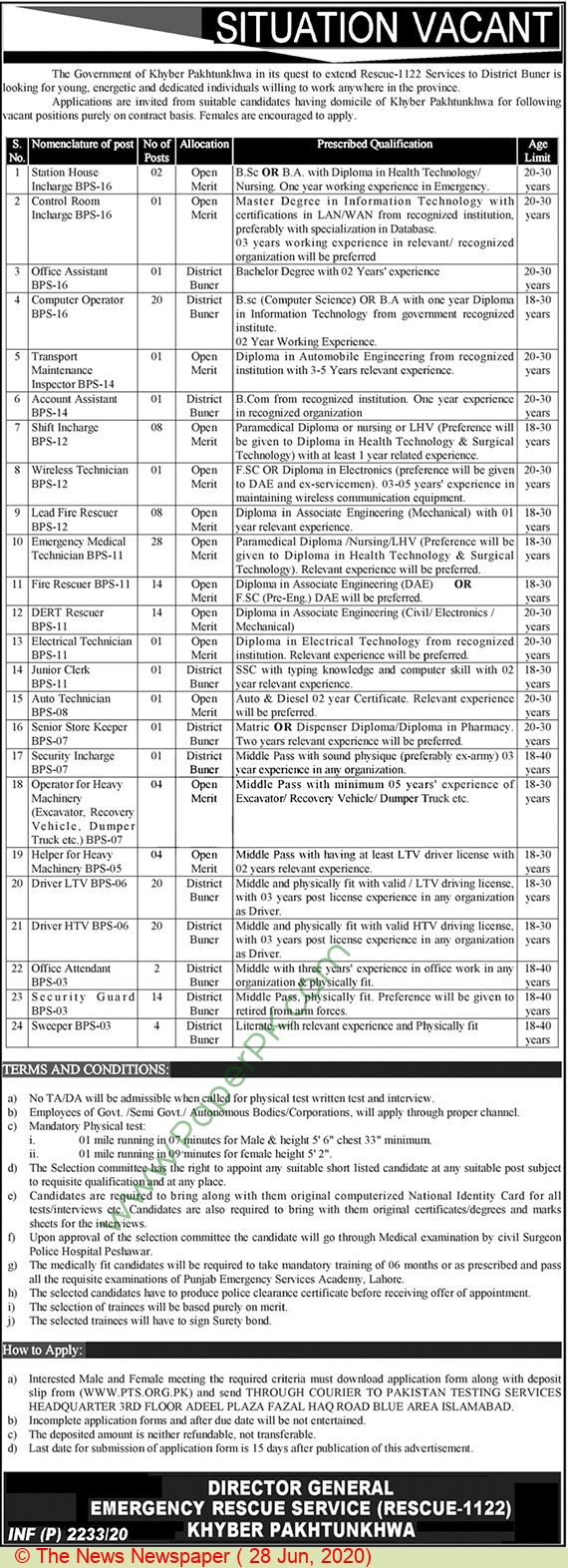 Kpk Emergency Rescue Service 1122 jobs newspaper ad for Sweeper in Peshawar