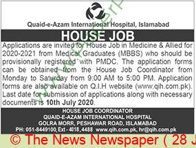 Quaid E Azam International Hospital jobs newspaper ad for House Job in Islamabad