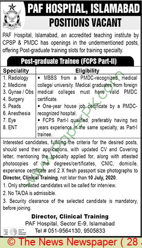 Paf Hospital jobs newspaper ad for Post Graduate Trainee in Islamabad