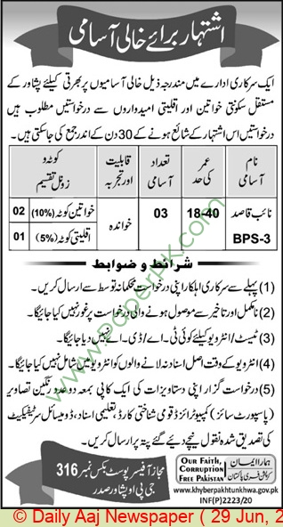 Khyber Pakhtunkhwa Government jobs newspaper ad for Naib Qasid in Peshawar