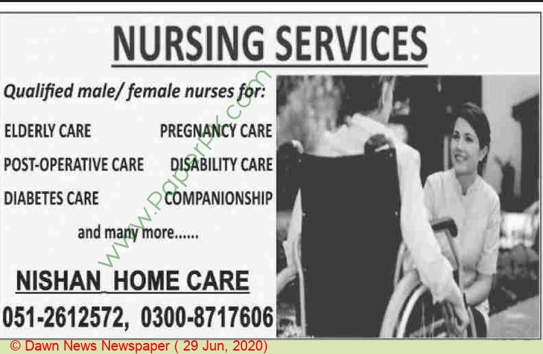 Nishan Homecare jobs newspaper ad for Nursing Service in Islamabad