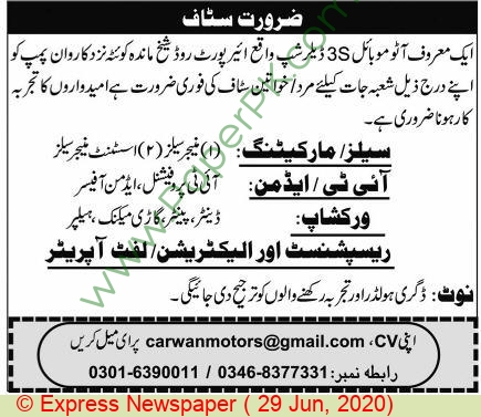 3s Dealership jobs newspaper ad for Manager Sales in Quetta