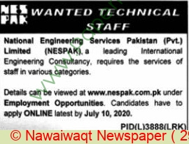 National Engineering Services Pakistan Private Limited jobs newspaper ad for Principal Engineer in Lahore