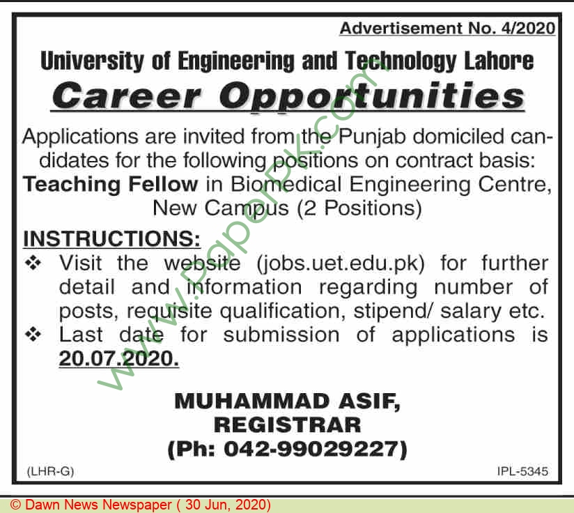 University Of Engineering & Technology jobs newspaper ad for Teaching Fellow in Lahore