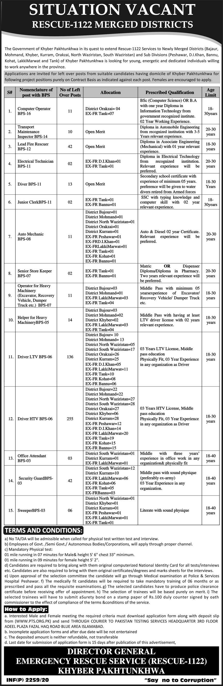 Kpk Emergency Rescue Service 1122 jobs newspaper ad for Computer Operator in Peshawar