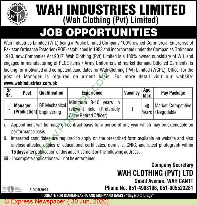 Industries Limited jobs newspaper ad for Manager Production in Wah