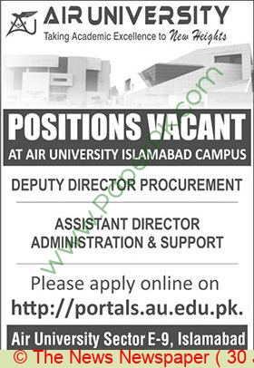 Air University jobs newspaper ad for Assistant Director in Islamabad