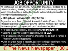 Humanitarian Organization jobs newspaper ad for Occupational Health & Staff Safety Advisor in Islamabad