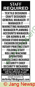 Textile Designer Jobs In Multiple Cities At Pakistan Based Company On July 05 2020 Paperads Com