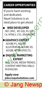 Nayel Solutions Company jobs newspaper ad for Web Developer in Multiple Cities