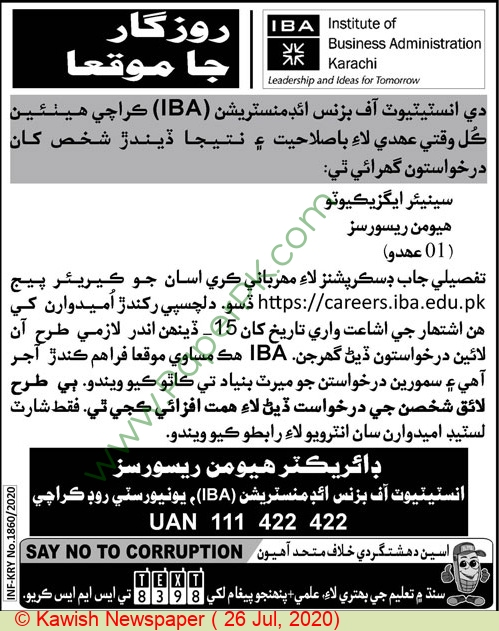 Institute of Business Administration jobs newspaper ad for Senior Executive in Karachi