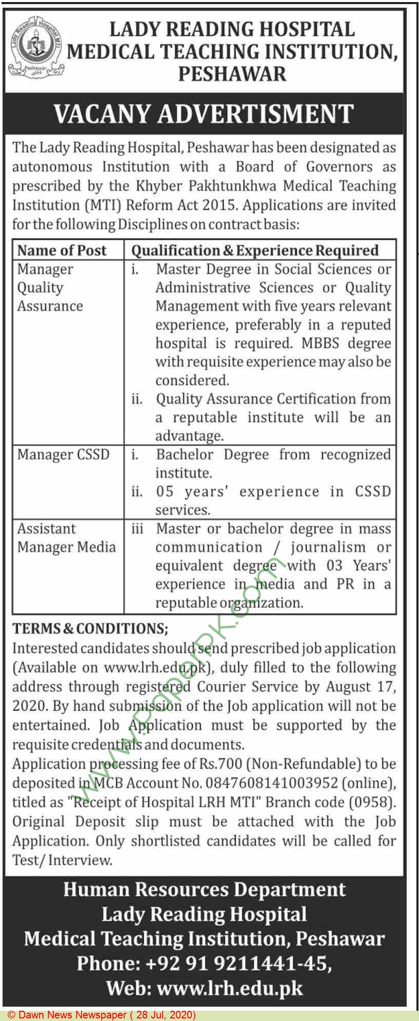 Lady Reading Hospital Medical Teaching Institution jobs newspaper ad for Manager Quality Assurance in Peshawar