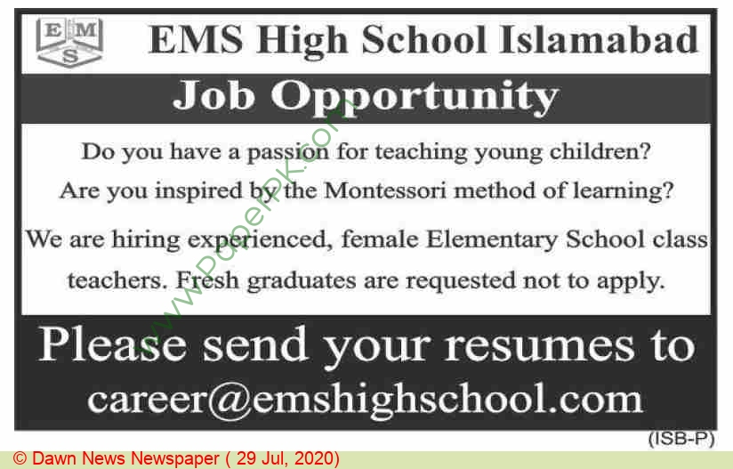 Ems High School jobs newspaper ad for Teacher in Islamabad