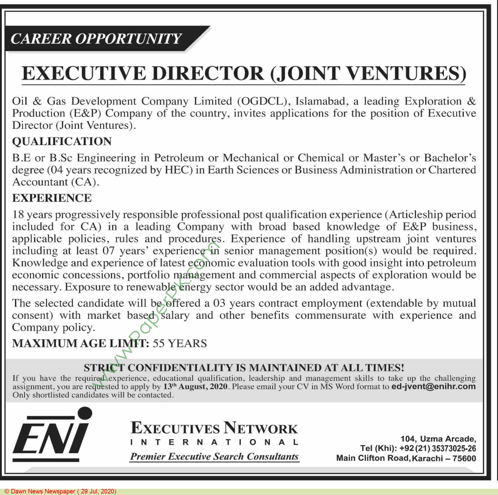 Executives Network International jobs newspaper ad for Executive Director Joint Venture in Karachi