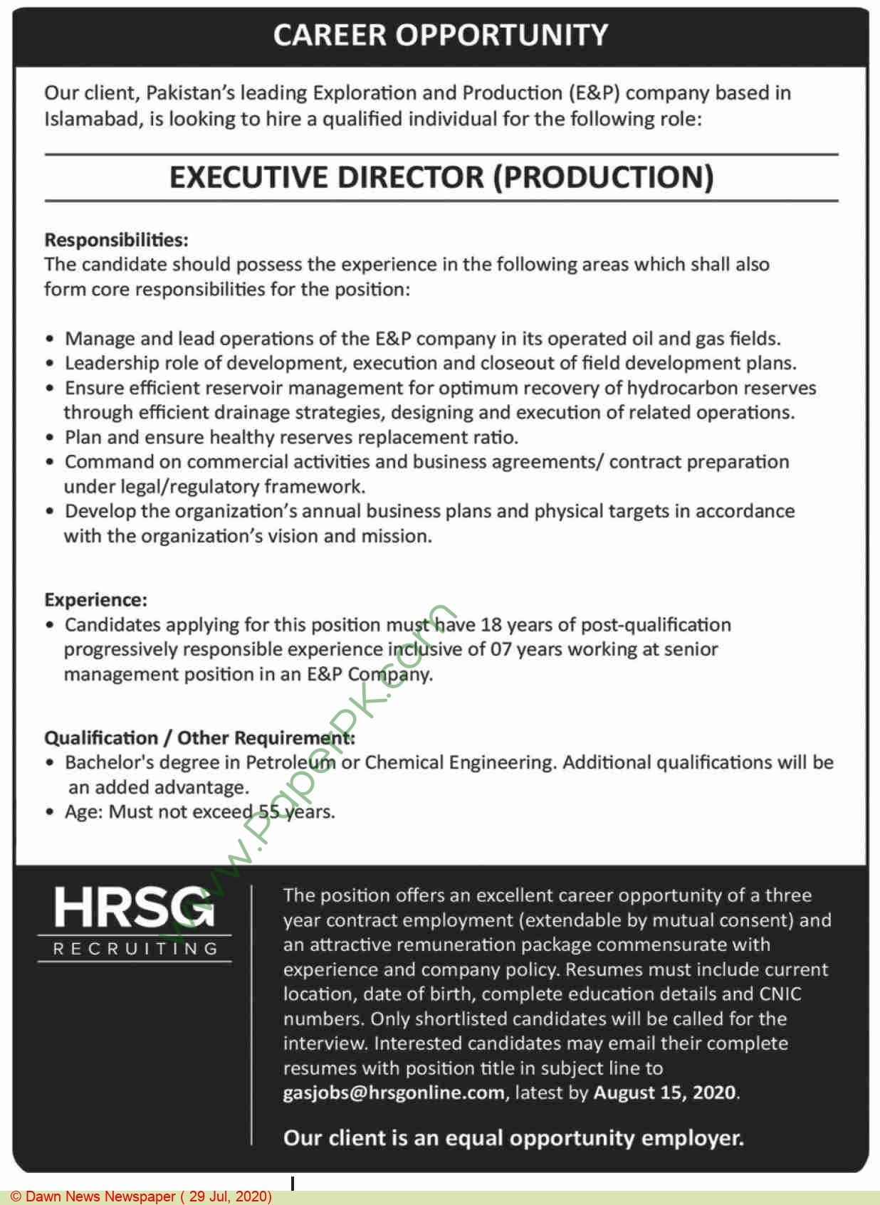 Hrsg Recruiting jobs newspaper ad for Executive Director Production in Islamabad