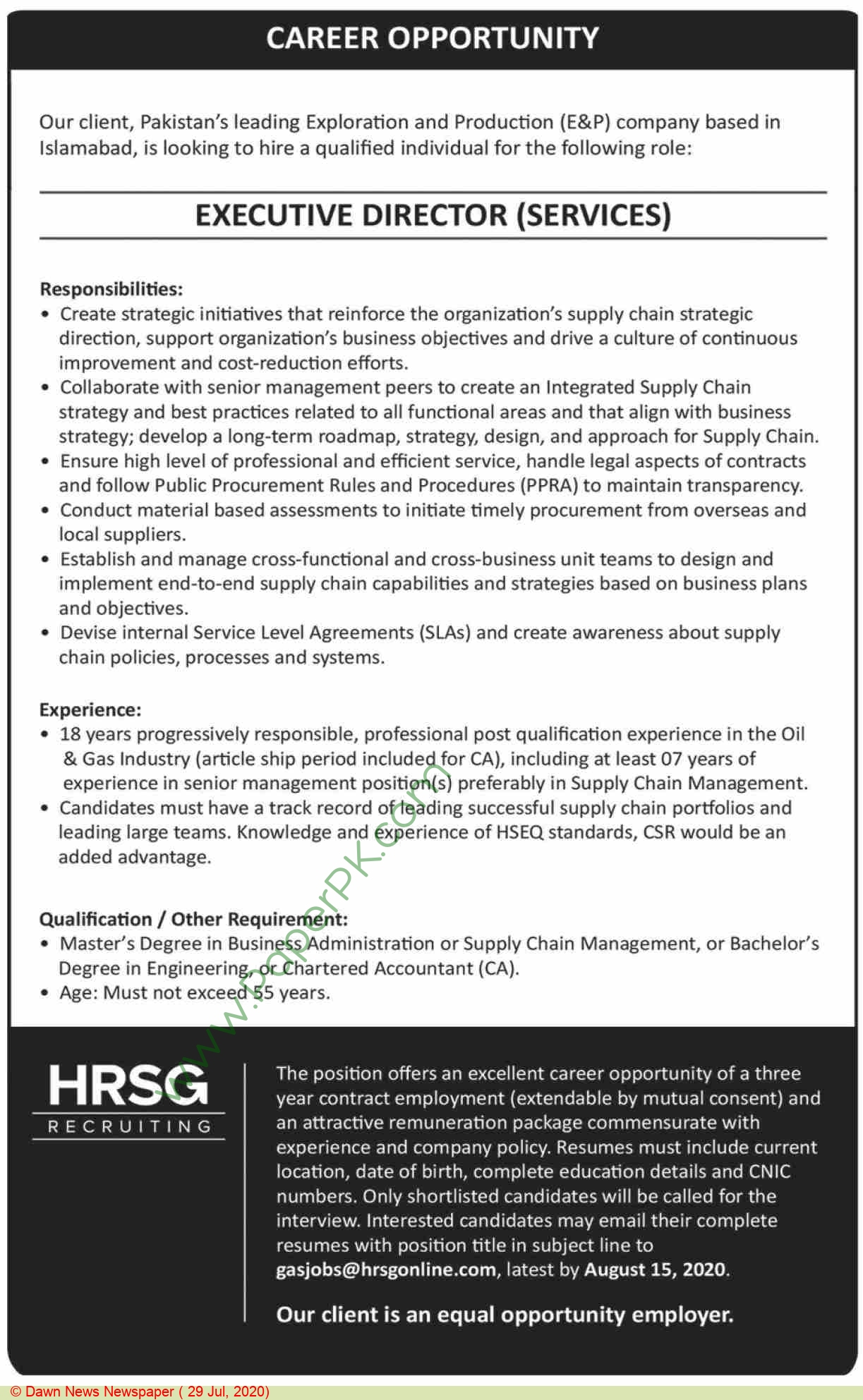 Hrsg Recruiting jobs newspaper ad for Executive Director Service in Islamabad