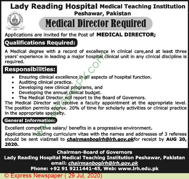 Lady Reading Hospital Medical Teaching Institution jobs newspaper ad for Medical Director in Peshawar