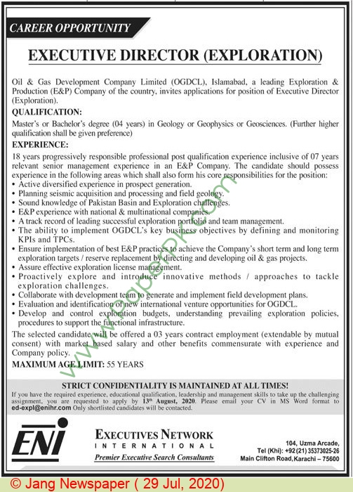 Executives Network International jobs newspaper ad for Executive Director Exploration in Karachi