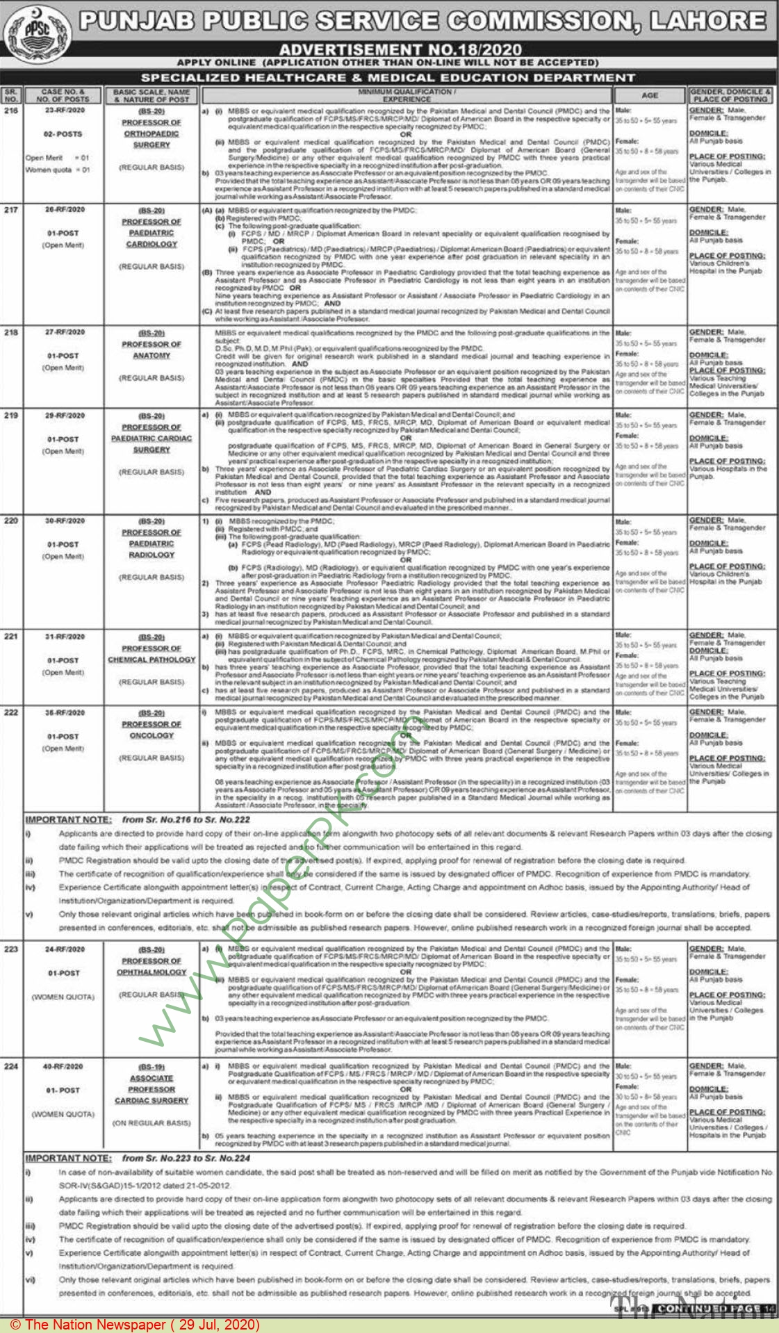 Specialized Healthcare & Medical Education Department jobs newspaper ad for Professor in Lahore