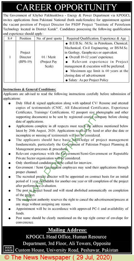 Khyber Pakhtunkhwa Oil & Gas Company Limited jobs newspaper ad for Project Director in Peshawar