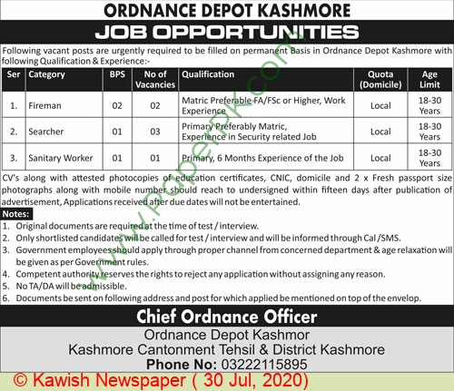 Ordnance Depot jobs newspaper ad for Fireman in Kashmor