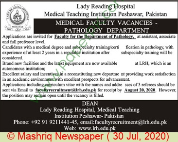 Lady Reading Hospital Medical Teaching Institution jobs newspaper ad for Medical Faculty Staff in Peshawar