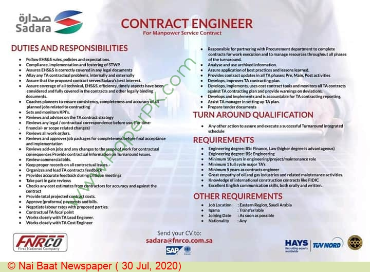 First National Human Resources Company jobs newspaper ad for Contract Engineer in Multiple Cities