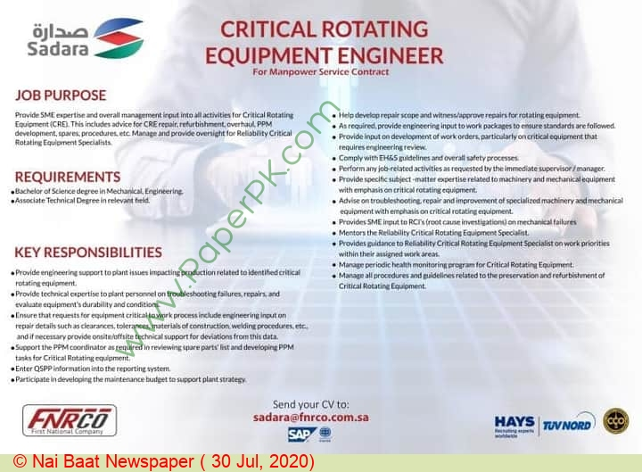 First National Human Resources Company jobs newspaper ad for Critical Rotating Equipment Engineer in Multiple Cities