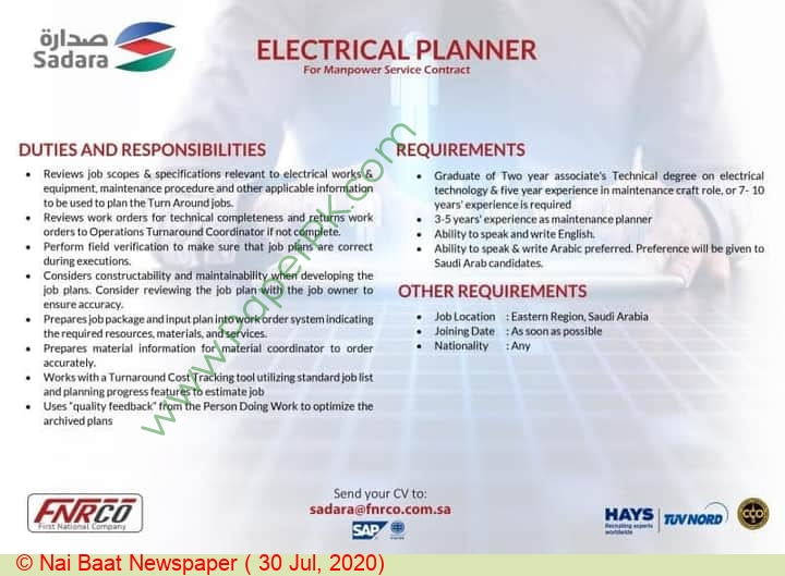 First National Human Resources Company jobs newspaper ad for Electrical Planner in Multiple Cities