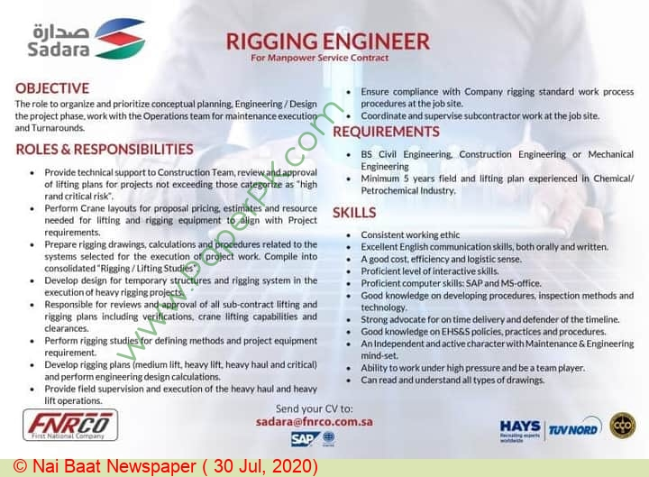 First National Human Resources Company jobs newspaper ad for Rigging Engineer in Multiple Cities