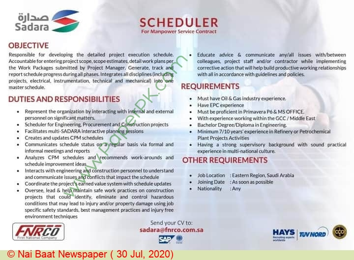 First National Human Resources Company jobs newspaper ad for Scheduler in Multiple Cities