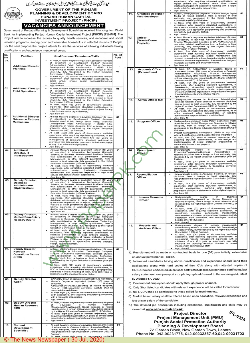 Punjab Social Protection Authority jobs newspaper ad for Additional Director Planning in Lahore