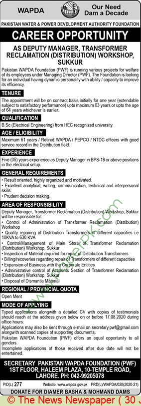 Water and Power Development Authority jobs newspaper ad for Deputy Manager in Lahore