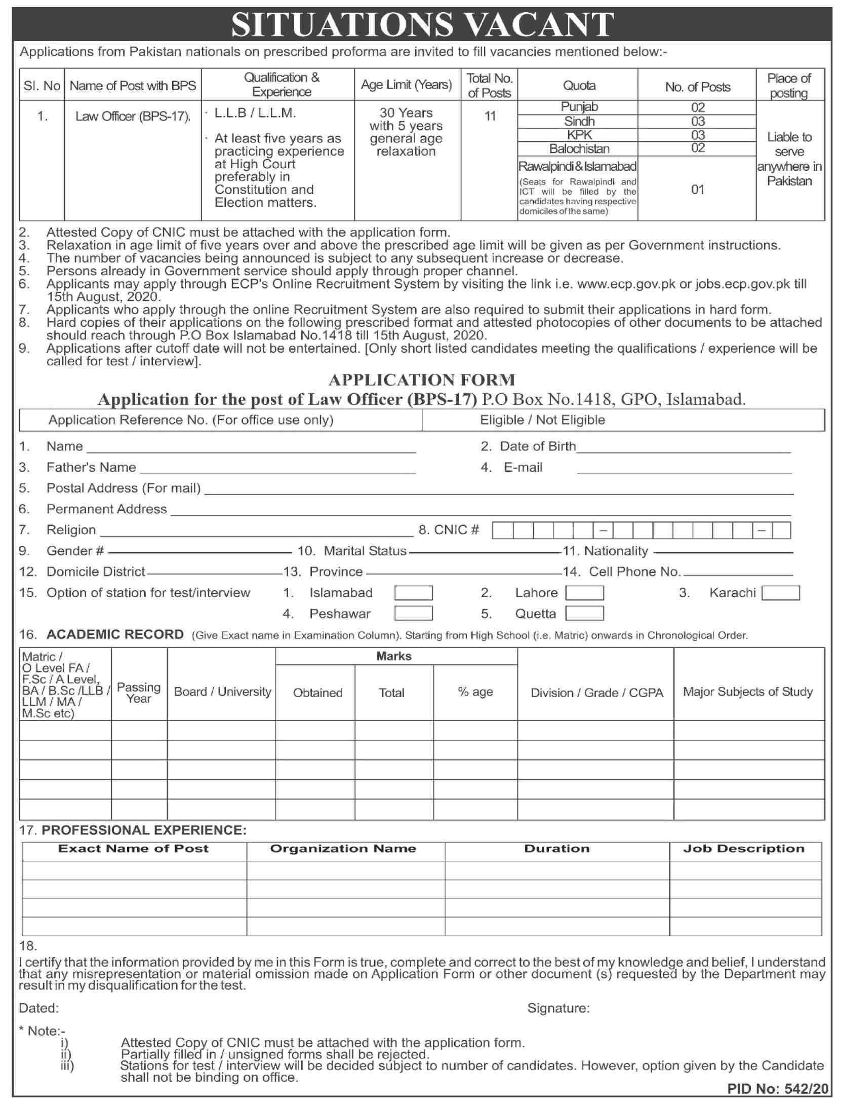 Election Commission Of Pakistan jobs newspaper ad for Law Officer in Islamabad