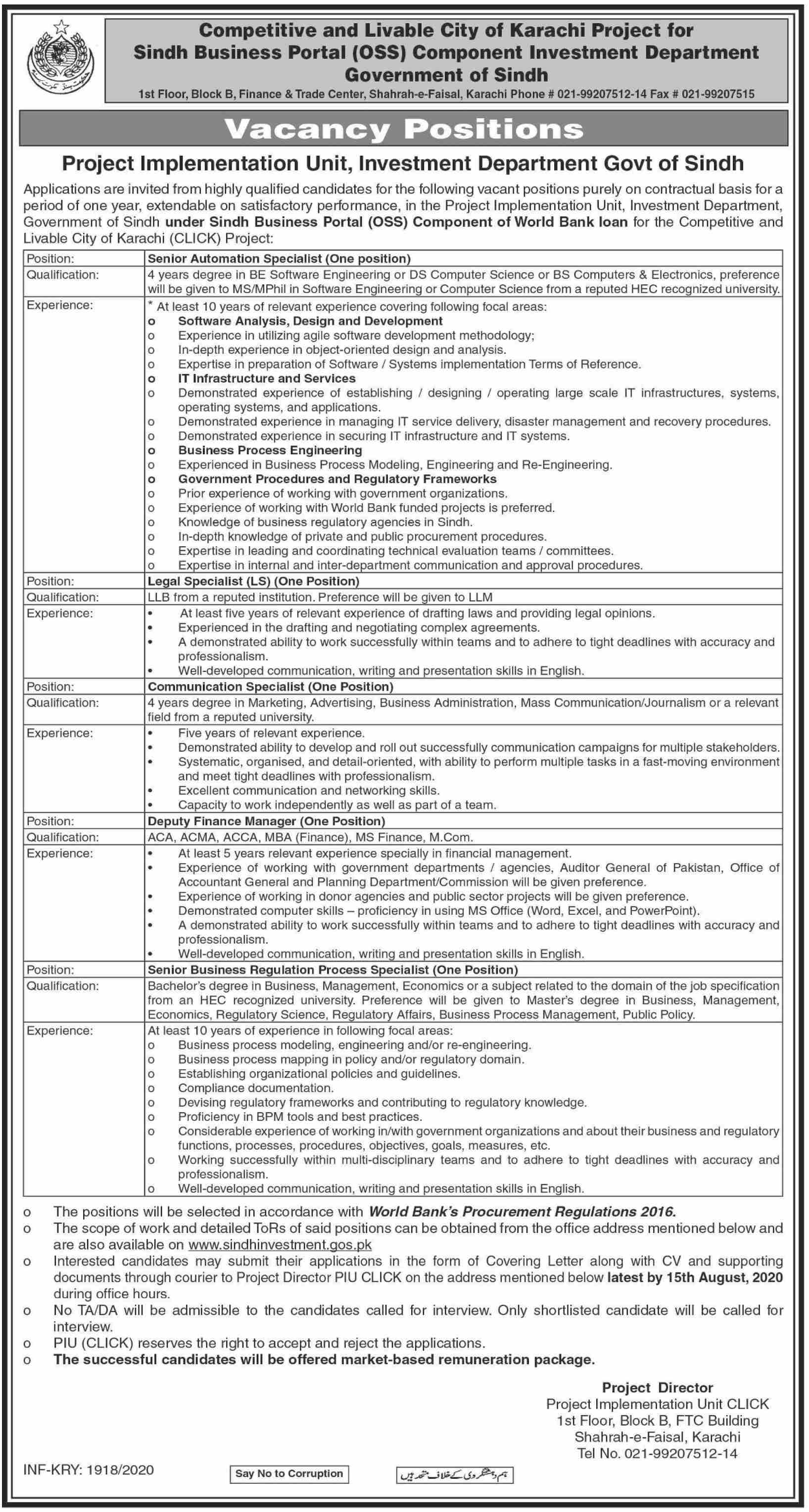 Deputy Finance Manager jobs in Karachi at Investment Department