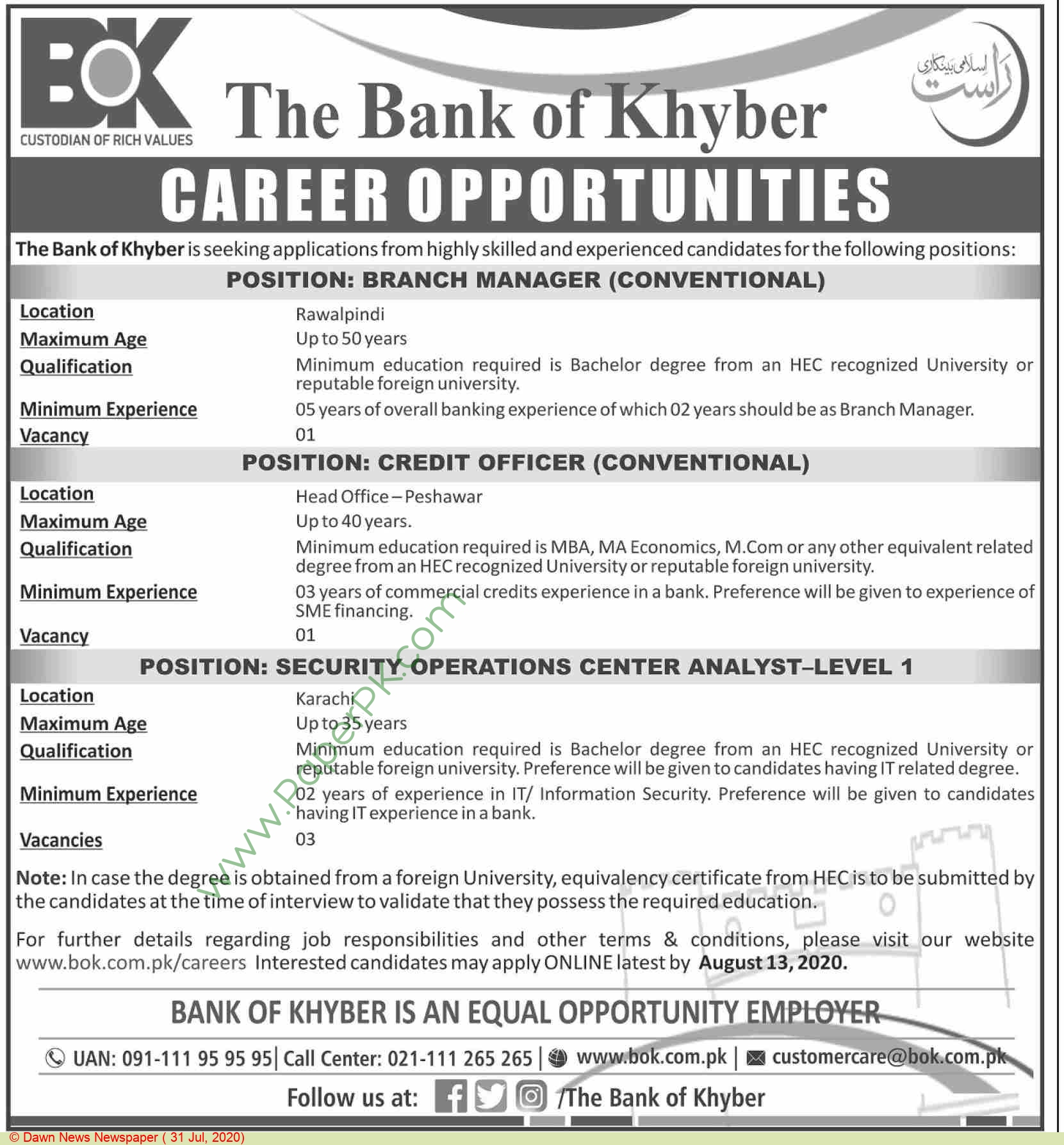 The Bank Of Khyber jobs newspaper ad for Branch Manager in Peshawar