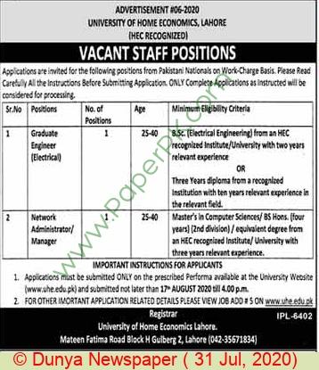 University Of Home Economics jobs newspaper ad for Graduate Engineer in Lahore