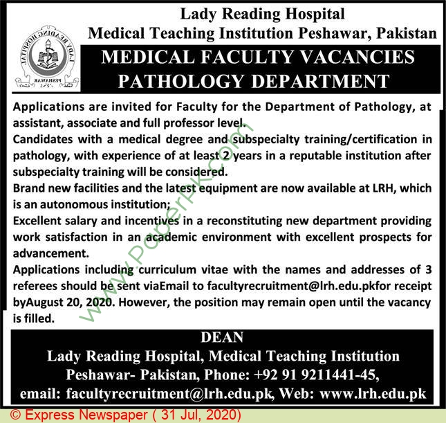 Lady Reading Hospital Medical Teaching Institution jobs newspaper ad for Associate Professor in Peshawar