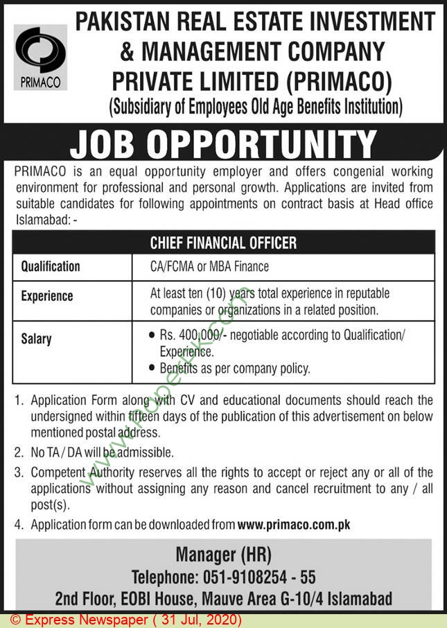 Pakistan Real Estate Investment & Management Company jobs newspaper ad for Chief Financial Officer in Islamabad